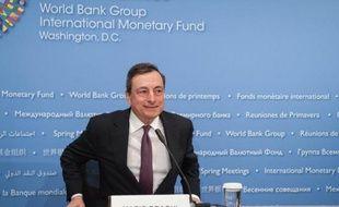 Le président de la Banque centrale européenne (BCE) Mario Draghi à Wasington DC, le 18 avril 2015
