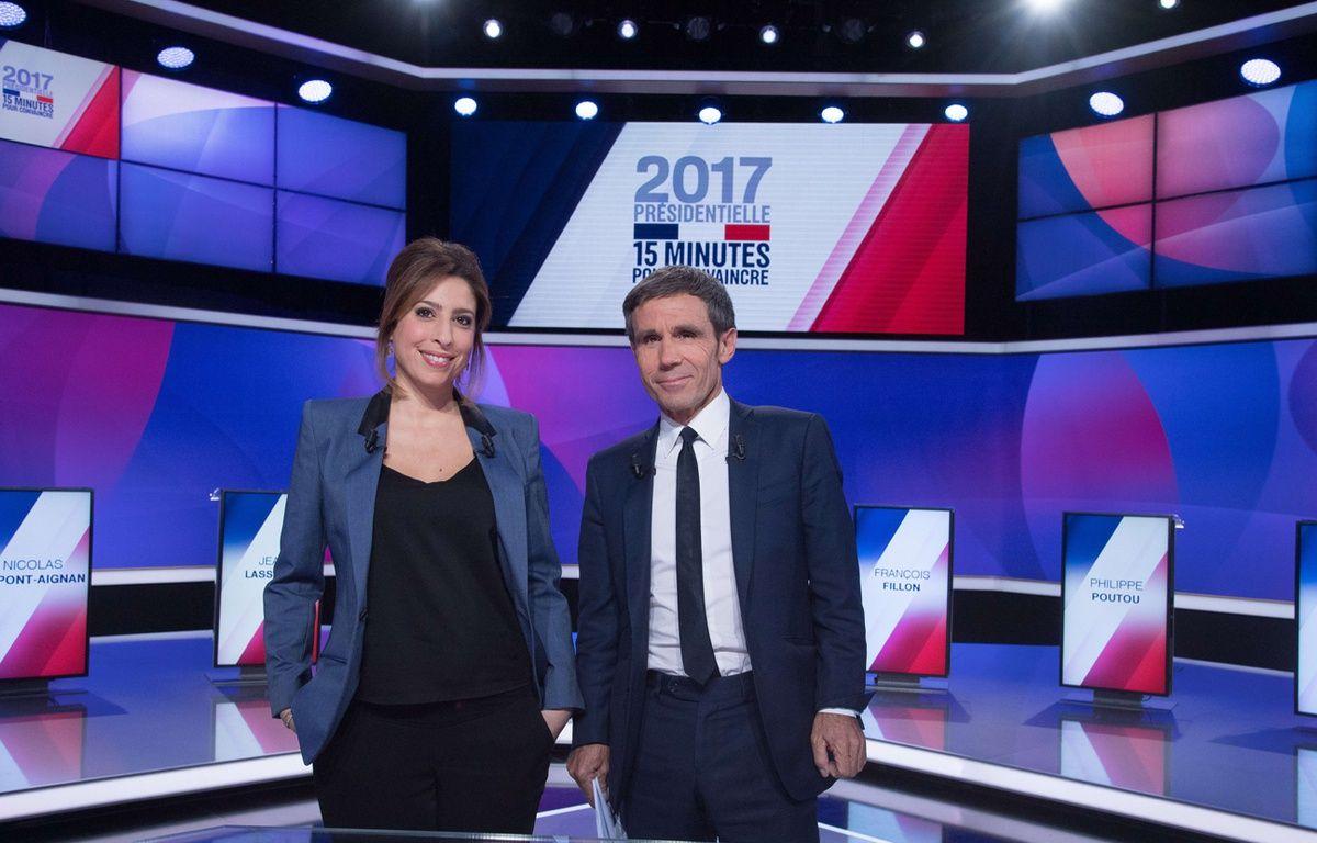 Léa Salamé et David Pujadas sur le plateau de l'émission politique sur France 2 – VILLARD/SIPA