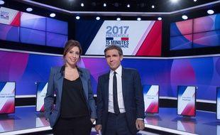 Léa Salamé et David Pujadas sur le plateau de l'émission politique sur France 2