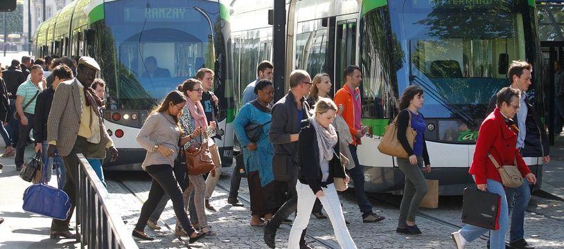 Le tramway à la station Commerce, à Nantes (illustration).