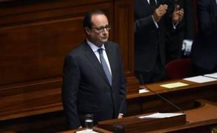 Le président François Hollande devant le Parlement réuni en Congrès le 16 novembre 2015 à Versailles