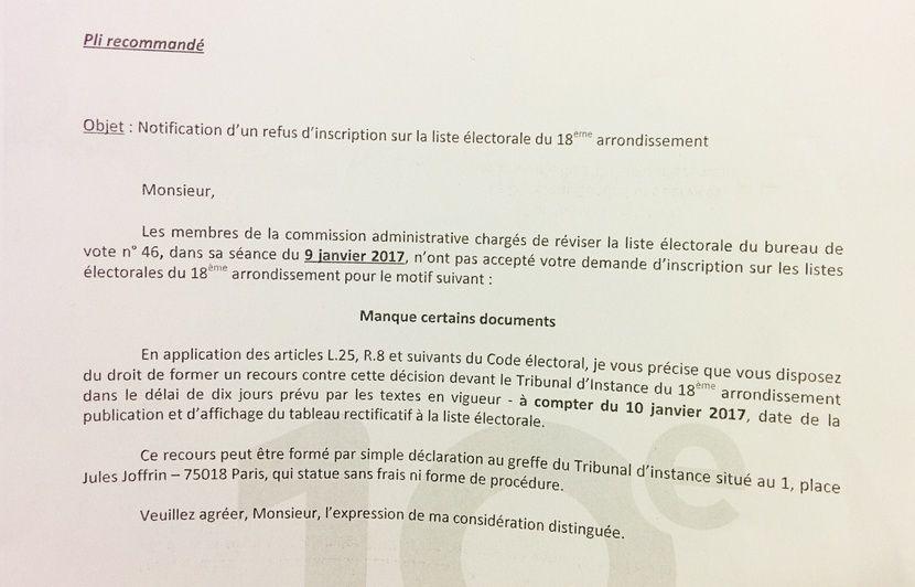 Refus D Inscription Sur Les Listes Electorales Il Ne Reste Plus Que