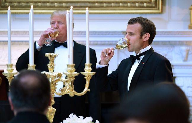 VIDEO. Visite présidentielle aux Etats-Unis: Donald Trump et Emmanuel Macron rangent les couteaux pour un fastueux dîner d'Etat