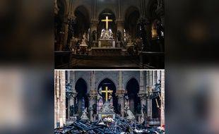 L'autel est recouvert par des fragments calcinés de la flèche et des pierres de la portion de la voûte qui s'est effondrée, mais la piéta, derrière, est intacte.