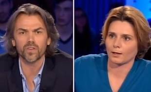 Aymeric Caron et Caroline Fourest sur le plateau d'«On est pas couché», diffusé le 3 mai 2015.