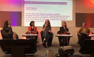 Johanna Rolland, Valérie Oppelt, Margot Medkour, Julie Laernoes et Laurence Garnier, candidates à la mairie de Nantes