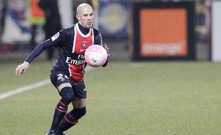 Le défenseur du PSG Christophe Jallet, le 25 février 2012 à Lyon.