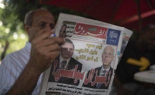 L'annonce des résultats du premier tour de la présidentielle dans le quotidien Al-Shorouk, Tunis le 16 septembre 2019.