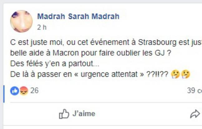 Une internaute s'interroge sur l'attaque perpétrée à Strasbourg le 11 décembre 2018