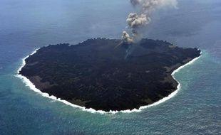 Photo fournie le 25 mars 2015 par les garde-côtes japonais montrant l'île de Nishinoshima, qui a fait surface dans le Pacifique en novembre 2013 au milieu du petit archipel d'Ogasawara