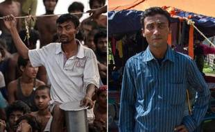 Combo de deux photos de Jamal, un rohingya de 39 ans: A GAUCHE: avec d'autres réfugiés birmans de cette communauté, le 14 mai 2015 au large de la Thaïlande - A DROITE: le 28 mai, dans le camp de réfugiés indonésien de Bayeun, dans la province d'Aceh