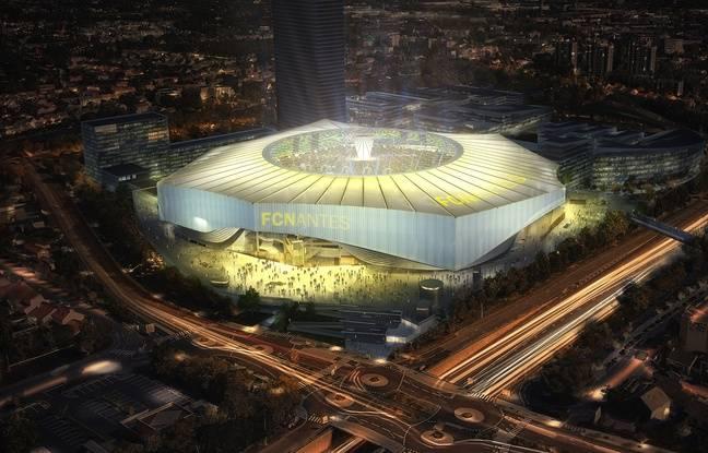 Image de synthèse du projet de stade du FC Nantes, ici avec le toit ouvert.