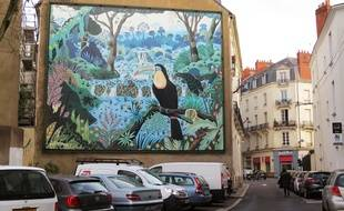 La fresque du «Toucan au bec caréné», reproduction du tableau d'Alain Thomas.