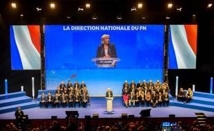 Marine Le Pen lors du Congrès du Front national ce dimanche à Lille.