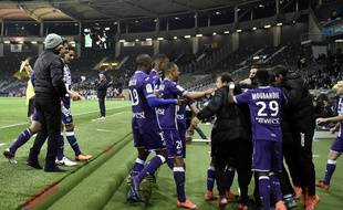 La joie des Toulousains lors de leur victoire contre Bordeaux, le 12 mars 2016.