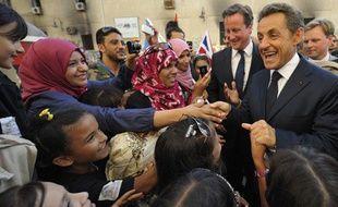 Nicolas Sarkozy, le 15 septembre 2011, lors d'une visite express à Benghazi.