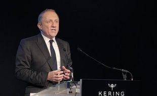 Le PDG de Kering Francois-Henri Pinault lors de la présentation des résultats du groupe le 17 février 2015 à Paris