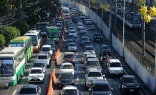 Embouteillages à Manille, le 11 janvier 2016 aux Philippines