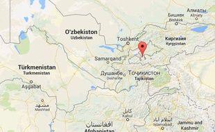 Google map de Batken, au Kirghizstan.