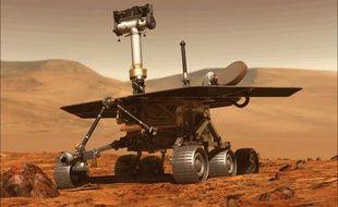 Image de synthèse du rover Opportunity sur Mars.