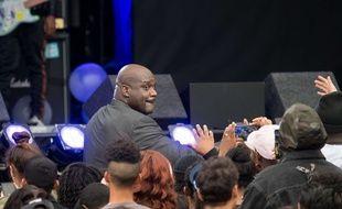 Shaquille O'Neal dans le Jimmy Kimmel Live TV show, à Los Angeles, le 30 octobre 2017.