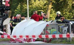 La scène de l'accident, au passage à niveau d'Oss (Pays-Bas), le 20 septembre 2018.