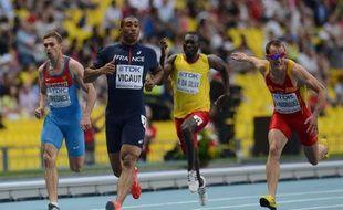 Le sprinteur français Jimmy Vicaut lors de sa série du 100m aux Mondiaux de Moscou, le 10 août 2013.