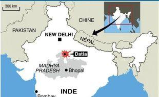 Infographie de localisation de Datia où une bousculade près d'un temple hindou a fait au moins 60 morts