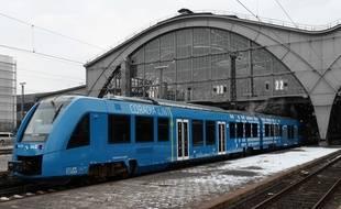 Un train à hydrogène produit par Alstom, à Leipzig en Allemagne.