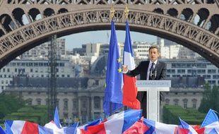 Nicolas Sarkozy tient un discours sur le «vrai travail», place du Trocadéro, à l'occasion de la Fête du travail, mardi 1er Mai 2012