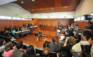 La salle d'audience du tribunal de Salta, en Argentine à l'ouverture du procès du meurtre en 2011 de deux Françaises, le 25 mars 2014