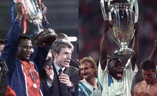 Bruno N'Gotty, soulevant la Coupe des Coupe en 1996 et Basile Boli, avace la Coupe d'Europe des clubs champions en 1993.