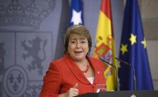 La présidente chilienne Michelle Bachelet lors d'une conférence de presse au palait Moncloa à Madrid le 30 octobre 2014