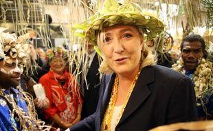 Marine Le Pen, le 28 février 2019, aux stands des territoires d'outre-mer du Salon de l'Agriculture, à Paris.