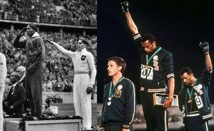 Plus de trente ans après le sacre de Jesse Owens (à gauche), deux athlètes américains dénoncent le racisme aux États-Unis.