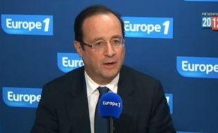 François Hollande participe à la matinale d'Europe 1, le 7 mars 2012.
