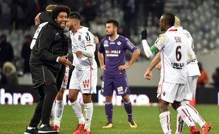 L'attaquant toulousain Corentin Jean, perplexe après la défaite face à Nice, le 29 novembre 2017 au Stadium de Toulouse.