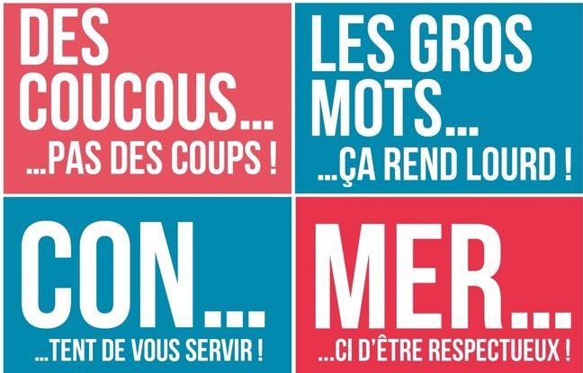 Des exemples de slogans de la campagne «Le respect, tous acteurs, tous concernés» à Nantes.