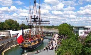 L'Hermione sera en octobre quai Richelieu à Bordeaux.
