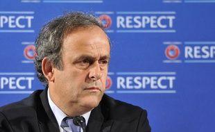Michel Platini, président de l'UEFA, lors d'une conférence de presse sur l'Euro 2016, le 22 février 2014 à Nice.