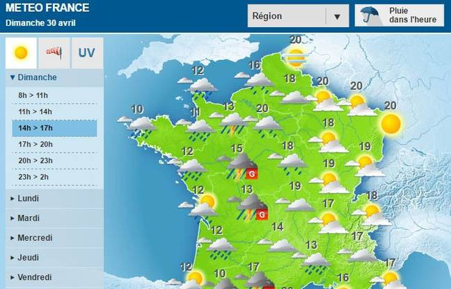 M t o vingt deux d partements de l 39 ouest de la france en vigilance orange pour orages violents - Meteo a la carte france 3 ...