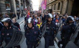 Manifestation contre l'austérité à Rome, la capitale de l'Italie, le 14novembre 2012.