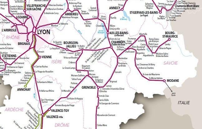 La carte illustrant une partie du trafic TER en Auvergne Rhône-Alpes.