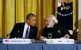 Le président américain Barack Obama (à gauche) et le Premier ministre indien Narendra Modi à la Maison blanche le 31 mars 2016