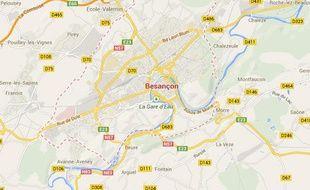 Googlemap de la ville de Besançon.