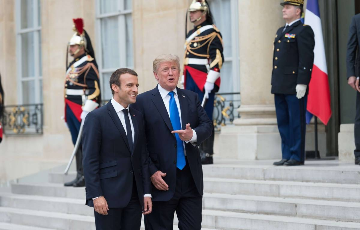Donald Trump et Emmanuel Macron à l'Elysée, le 13 juillet 2017. – W.Villard/SIPA