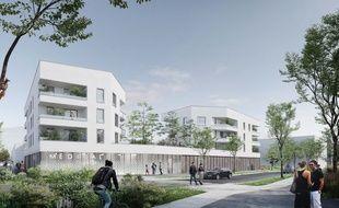 Image de synthèse d'une des rues du futur quartier Moulin-Boisseau, à Carquefou.