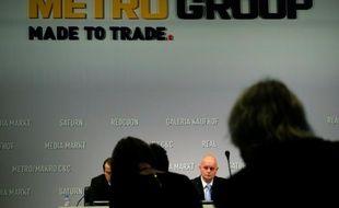 Conférence de presse de la direction du groupe de distribution Metro le 16 décembre 2014 à Dusseldorf