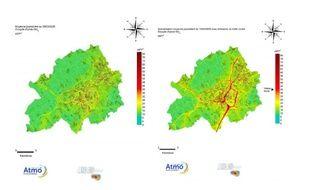 La carte de la métropole de Lille et ses axes routiers : pendant le confinement (à  gauche), en temps normal (à droite).