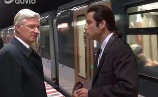 Image de la vidéo sur le compte Facebook de Pascal Van Den Driessche : le roi Philippe de Belgique face à John Travolta.